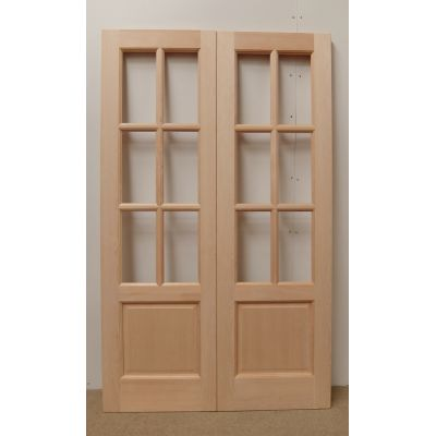 French Door Pair External Timber Wooden Hemlock GTP2P 6 Ligh...