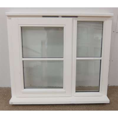 900x800mm White Pre-Finished Timber Window Glazed Centre Bar...