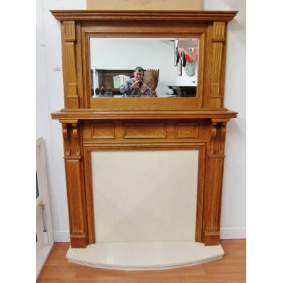 Solid Oak Fire Surround Fireplace 1960x1455mm Wooden Timber with Hearth