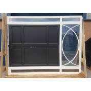 External French Door & Frame Set Toplight Timber Wooden Pair Sidelight Glazed