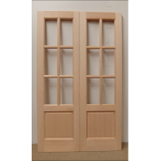 French Door Pair External Timber Wooden Hemlock GTP2P 6 Light Rebated Unglazed