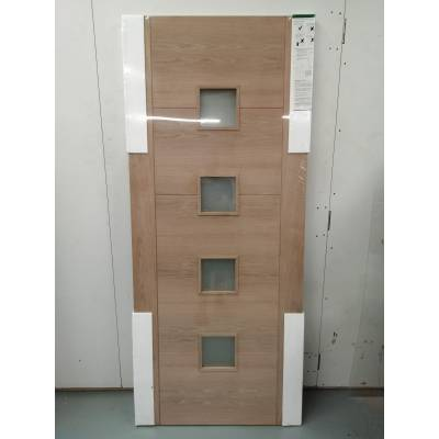 Iseo 5P 5 Panel 4L Oak Glazed Internal Door 78x33 Wooden Tim...
