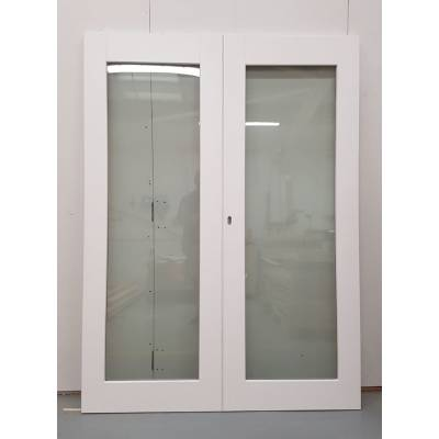 Wooden Timber White French Door Pair External Glazed  1452x1...