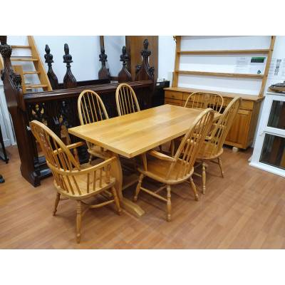 Dining Table Suite & Dresser in Solid Ash 6 Chairs and P...