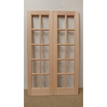 French Door Pair External Timber Wooden Hemlock GTP 10 Light SA Rebated Unglazed