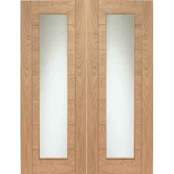 Internal Oak Palermo Pair Clear Glazed Doors