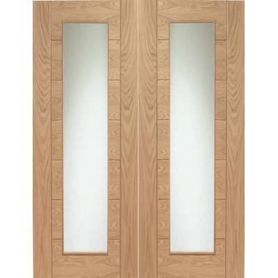 Internal Oak Palermo Pair Clear Glazed Doors - Door Size, Hx...