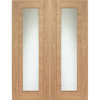Internal Oak Palermo Pair Clear Glazed Doors - Door Size, Hx...