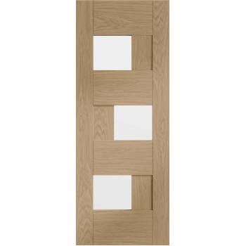 Pre Finished Clear Glazed Oak Perugia Door