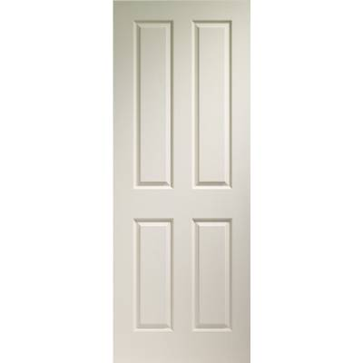 Primed White Victorian 4 Panel Internal Moulded Fire Door  -...