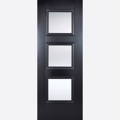 Black Primed Amsterdam Glazed 3L Internal Door  - Door Size,...