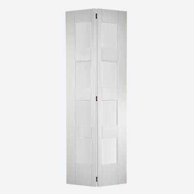 White Primed Shaker 4 Light Glazed Bi-Fold Internal Door Woo...
