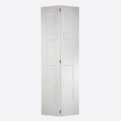 White Primed Shaker 4 Panel Bi-Fold Internal Door Wooden Tim...