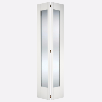 White Primed Shaker Glazed Bi-Fold Internal Door Wooden Timb...