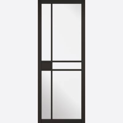 Black Primed Greenwich Glazed 5L Internal Door  - Door Size,...