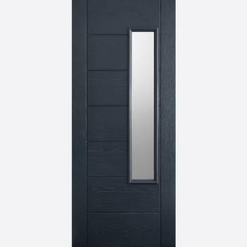 Pre Finished Newbury Grey Glazed GRP External Door