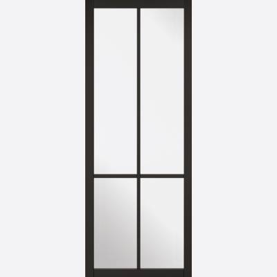 Black Primed Liberty Glazed 4L Internal Door  - Door Size, H...