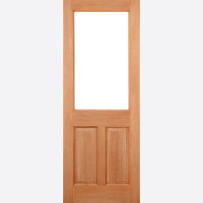 Hardwood 2XG 2 Panel (M&T) Clear Glazed External Door Wo...