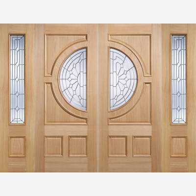 Oak Side Light Empress Style External Glazed Door Wooden Tim...