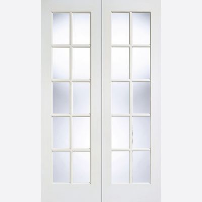 White Primed GTPSA Glazed Internal French Door Pair  - Door ...