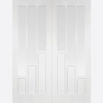 White Primed Coventry Glazed French Door Pair