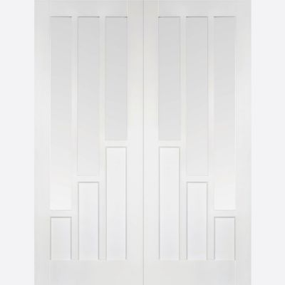 White Primed Coventry Glazed Internal French Door Pair  - Do...