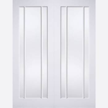White Primed Lincoln Glazed Internal French Doors