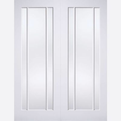 White Primed Lincoln Glazed Internal French Door Pair - Door...