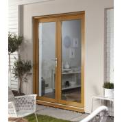 Wooden Timber Oak French Doors Patio External Glazed Smoothfold 1490x2090mm