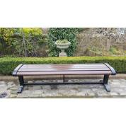 Park Bench Seat Garden Cast Iron Wooden Hardwood Slat Outdoor Street Public