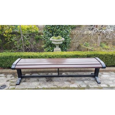 Park Bench Seat Garden Cast Iron Wooden Hardwood Slat Outdoo...