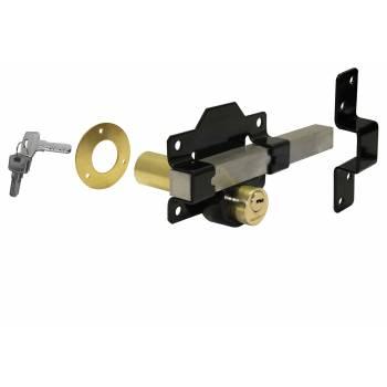 Long Throw Lock Gate Door Outside Garden Shed Key Single Double Locking 50mm