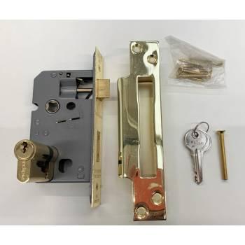 "Euro Sashlock 2.5"" Brass Sash Europrofile Lock Door Cylinder Locking Key"