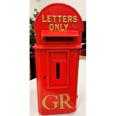 Red Post Box Original Antique Letter British Gold GR Cast Ir...