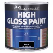 High Gloss Paint Hardwearing Interior Exterior Wood Metal Plaster Durable Black