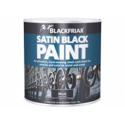 Satin Black Paint Hard Wearing Interior Exterior Metal Wood 500ml