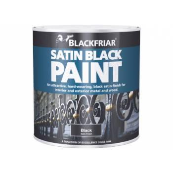 Satin Black Paint Hard Wearing Interior Exterior Metal Wood 500ml