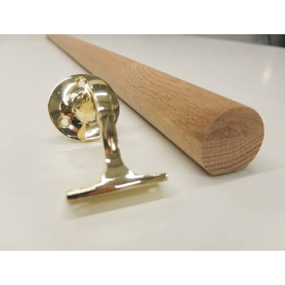 Oak Mopstick Round Stair Staircase Handrail 3.6m 44mm with B...