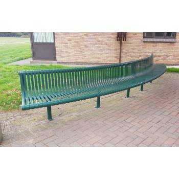 Large Green Curved Metal Bench