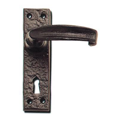 Warwick Door Handle Lever Lock Black Antique Plate 152x38mm...