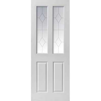 White Primed Canterbury Diamond Glazed Internal Door Wooden ...
