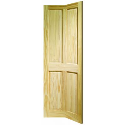 4 Panel Clear Pine Bi-Fold Internal Door Wooden Timber - Doo...