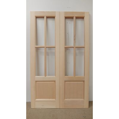 French Door Pair External Timber Wooden Hemlock 2XG 4L 4 Light Rebated Unglazed - Door Size, HxW: