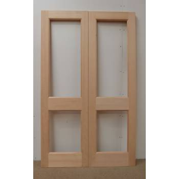 French Door Pair External Timber Wooden Hemlock 2XGG Rebated Unglazed