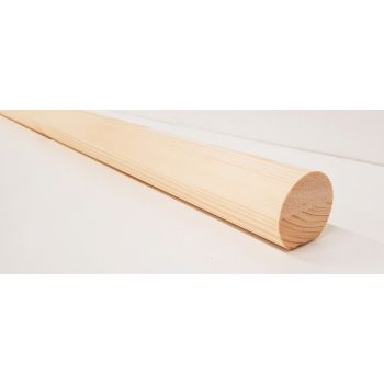 Pine mopstick round stair handrail 44mm diameter 3.6m wooden timber rail wall