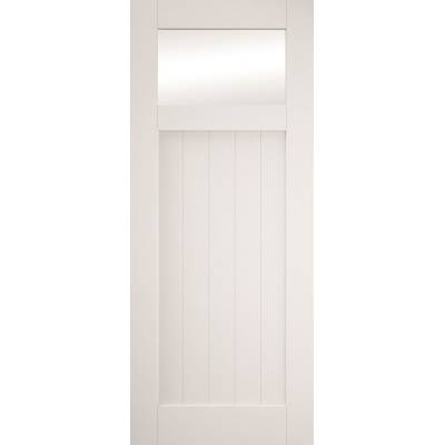 Primed Cottage Sliding Barn Door Clear Glazed White Primed G...