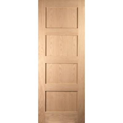 Shaker Oak 4 Panel Sliding Barn Door Grange Wooden Timber  -...