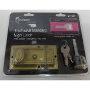 Night Latch Traditional Standard Emergency Key Card Gold Brass Security Home Secure