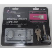 Night Latch Traditional Standard  Emergency Key Card Silver Security Home Secure