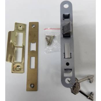 Brass 3 Lever Sashlock Brass Effect Door Bathroom Key Internal Latch 64mm 44mm